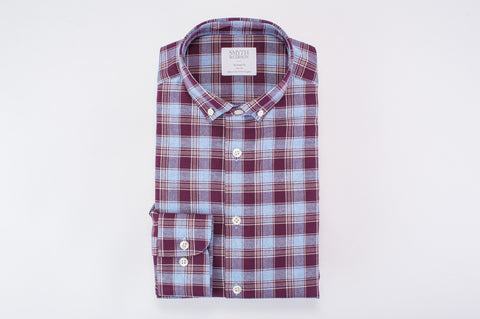 Smyth And Gibson Brushed Multicheck Tailored Fit Shirt in Burgundy & Sky Blue - Smyth & Gibson Shirts