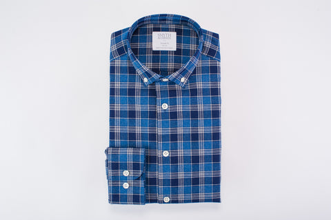 Smyth & Gibson Brushed Multicheck Tailored Fit Shirt in Blue & Navy