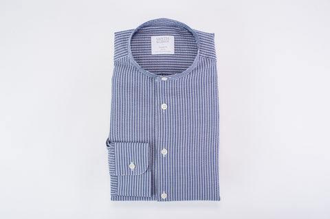 SMYTH AND GIBSON SEERSUCKER STRIPED GRANDAD COLLAR TAILORED FIT SHIRT IN INDIGO - Smyth & Gibson Shirts