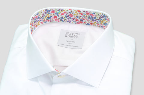 Smyth & Gibson Royal Twill with Pink Liberty Contrast Shirt in White - Smyth & Gibson Shirts
