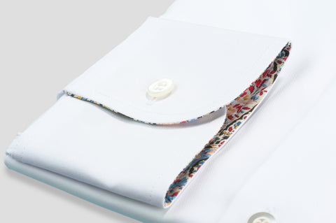 Smyth & Gibson Royal Twill with Paisley Liberty Contrast Shirt in White