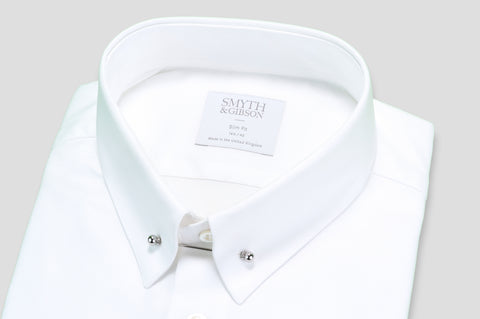 Smyth & Gibson Royalone Oxford Collar Bar Shirt in White - Smyth & Gibson Shirts