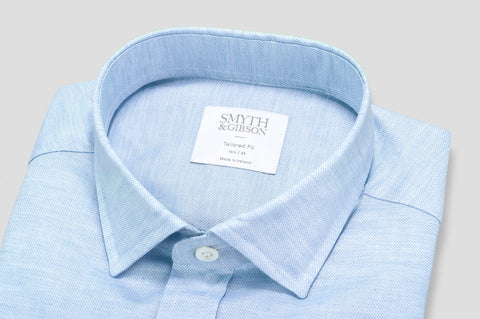 Smyth & Gibson Oxford Weave Tailored-Short Fit Shirt in Sky Blue - Smyth & Gibson Shirts