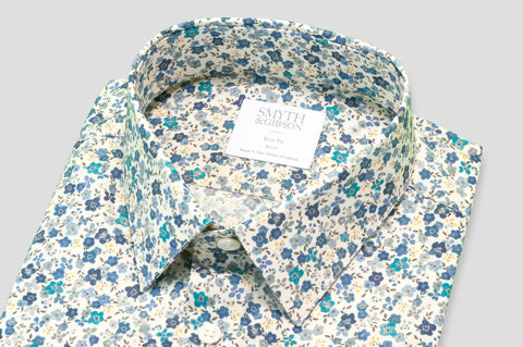 Smyth & Gibson Floral Print Slim Fit Shirt in Yellow & Blue - Smyth & Gibson Shirts