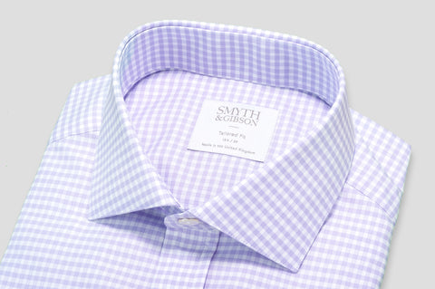 Smyth & Gibson Gingham Check Tailored Fit Shirt in Purple