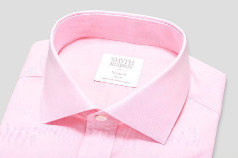 Smyth & Gibson Micro Houndstooth Check Tailored Fit Shirt in Pink