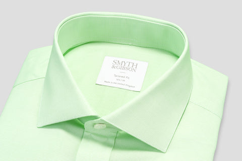Smyth & Gibson Micro Houndstooth Check Tailored Fit Shirt in Green - Smyth & Gibson Shirts