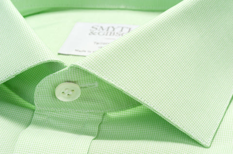 Smyth & Gibson Micro Houndstooth Check Tailored Fit Shirt in Green