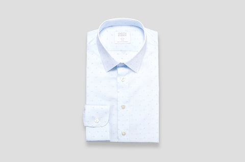 Smyth & Gibson Fine Stripe Jacquard Print Slim Fit Shirt in Blue