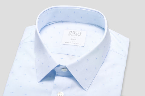 Smyth & Gibson Fine Stripe Jacquard Print Slim Fit Shirt in Blue - Smyth & Gibson Shirts