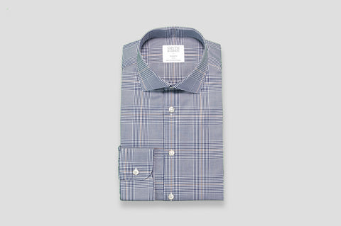 Smyth & Gibson Prince of Wales Check Twill Tailored Fit Shirt in Navy