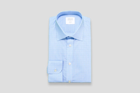 Smyth & Gibson Prince of Wales Check Tailored Fit Shirt in Sky Blue