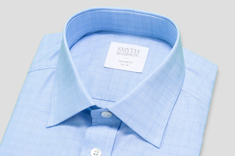 Smyth & Gibson Prince of Wales Check Tailored Fit Shirt in Sky Blue - Smyth & Gibson Shirts