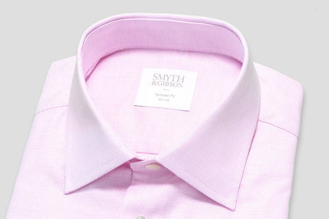 Smyth & Gibson Micro Panama Tailored Fit Shirt in Pink - Smyth & Gibson Shirts