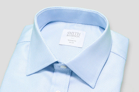 Smyth & Gibson Textured Weave Tailored Fit Shirt in Sky Blue - Smyth & Gibson Shirts