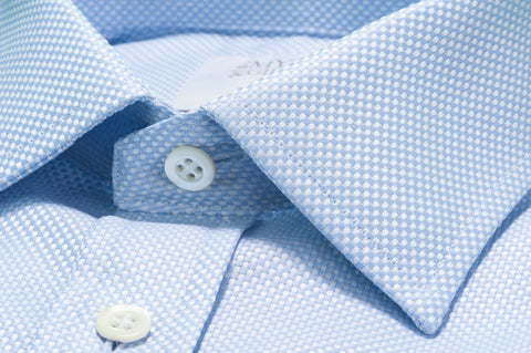 Smyth & Gibson Textured Weave Tailored Fit Shirt in Sky Blue