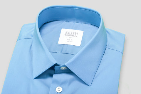 Smyth & Gibson Stretch Poplin Slim Fit Shirt in Blue