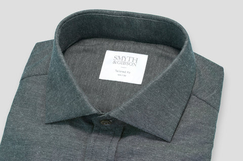 Smyth & Gibson Brushed Cotton Twill Tailored Fit Shirt In Charcoal Grey - Smyth & Gibson Shirts