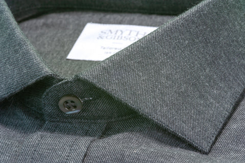 Smyth & Gibson Brushed Cotton Twill Tailored Fit Shirt In Charcoal Grey
