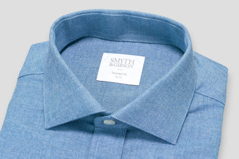 Smyth & Gibson Brushed Cotton Twill Tailored Fit Shirt in Polo Blue - Smyth & Gibson Shirts