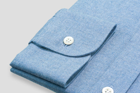 Smyth & Gibson Brushed Cotton Twill Tailored Fit Shirt in Polo Blue