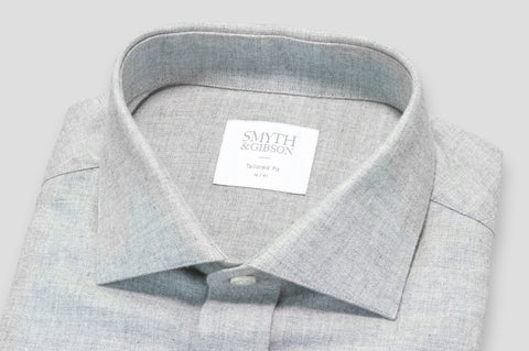 Smyth & Gibson Brushed Cotton Twill Tailored Fit Shirt in Ash Grey - Smyth & Gibson Shirts