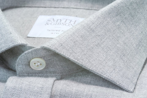 Smyth & Gibson Brushed Cotton Twill Tailored Fit Shirt in Ash Grey