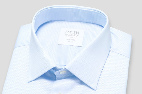 Smyth & Gibson Basket Weave Tailored Fit Shirt in Sky Blue - Smyth & Gibson Shirts