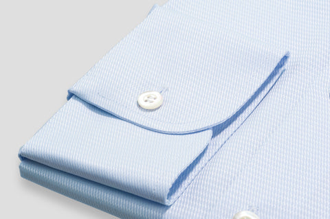 Smyth & Gibson Basket Weave Tailored Fit Shirt in Sky Blue