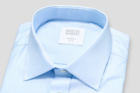 Smyth & Gibson Plain Twill Tailored Fit Shirt In Sky Blue - Smyth & Gibson Shirts