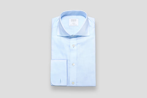 Smyth & Gibson Plain Twill Double Cuff Tailored Fit Shirt in Sky Blue