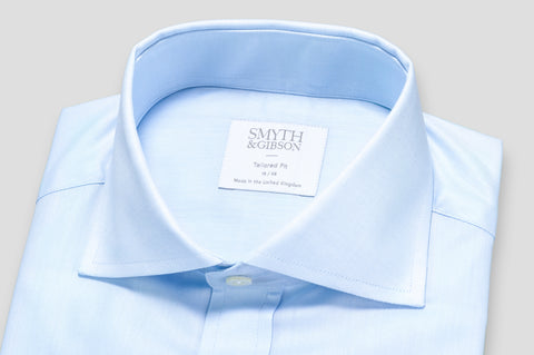 Smyth & Gibson Plain Twill Double Cuff Tailored Fit Shirt in Sky Blue - Smyth & Gibson Shirts