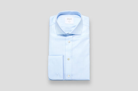 Smyth & Gibson Herringbone Royal Twill Double Cuff Shirt In Sky Blue
