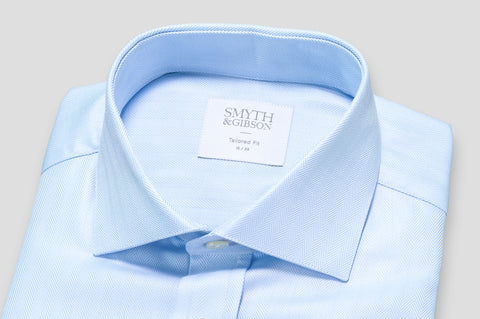 Smyth & Gibson Herringbone Royal Twill Double Cuff Shirt In Sky Blue - Smyth & Gibson Shirts