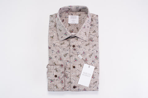 Smyth & Gibson Ottoman Battle Print Brushed Cotton Shirt in Brown