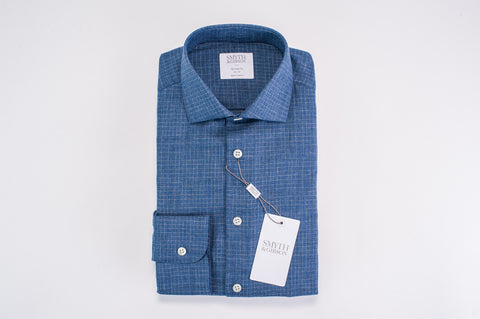 Smyth & Gibson Brushed Cotton Grid Check Tailored Fit Shirt in Navy