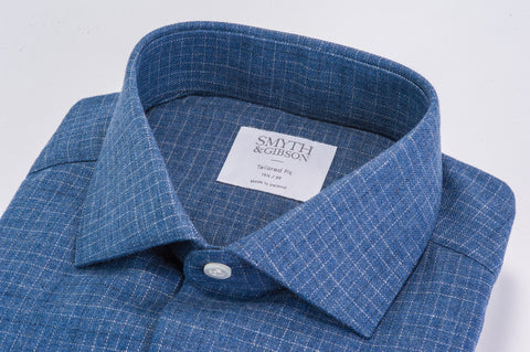 Smyth and Gibson Abstract Brushed Check tailored Fit Shirt in Navy