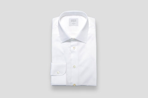 Smyth & Gibson Basket Weave Tailored Fit Shirt in White