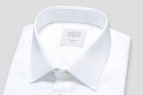 Smyth & Gibson Basket Weave Tailored Fit Shirt in White - Smyth & Gibson Shirts