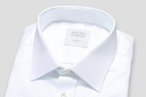 Smyth & Gibson Heavy Textured Weave Tailored Fit Shirt in White - Smyth & Gibson Shirts