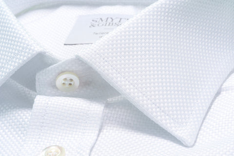 Smyth & Gibson Heavy Textured Weave Tailored Fit Shirt in White