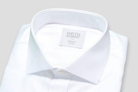 Smyth & Gibson Herringbone Royal Twill Double Cuff Tailored Fit Shirt In White - Smyth & Gibson Shirts