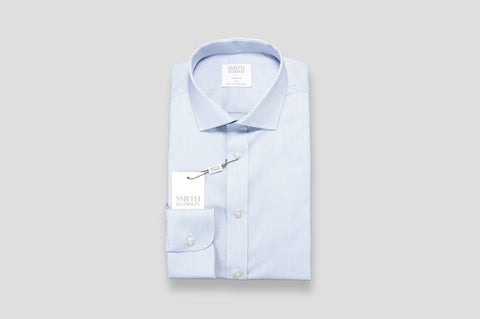 Smyth & Gibson Micro Pique Dashes Tailored Fit Shirt in Blue