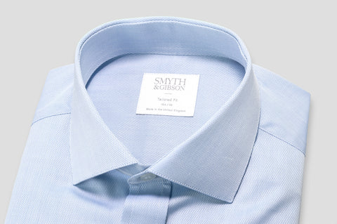 Smyth & Gibson Micro Diamond Dobby Tailored Fit Shirt in Blue
