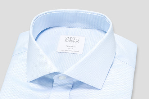 Smyth & Gibson Basket Weave Tailored Fit Shirt in Blue - Smyth & Gibson Shirts