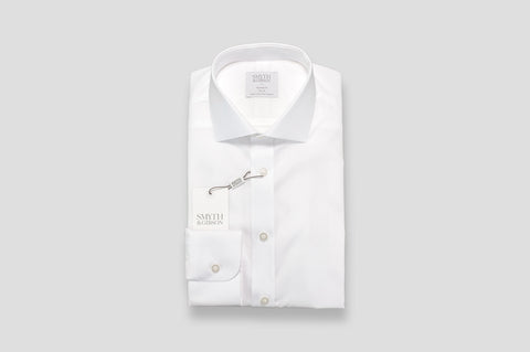 Smyth & Gibson Textured Fine Stripe Tailored Fit Shirt in White