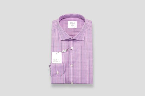 Smyth & Gibson Prince of Wales Check Tailored Fit Shirt in Purple