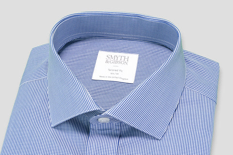 Smyth & Gibson Micro Gingham Tailored Fit Shirt in Blue