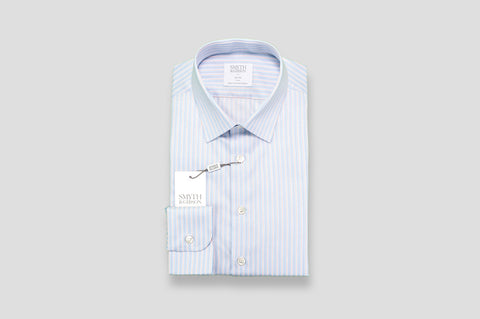 Smyth & Gibson Fine Multi-Stripe Slim Fit Shirt in Light Blue
