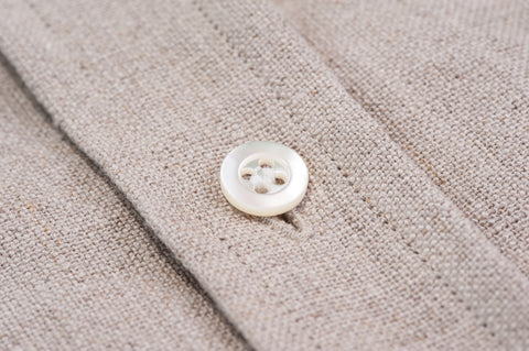 Smyth & Gibson 100% Heavy Irish Linen Shirt in Stone